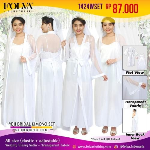 Foto Produk Kimono set bridal bridesmaid satin wedding robe putih 1424WSET Folva dari Kimochi Me Sexy Lingerie