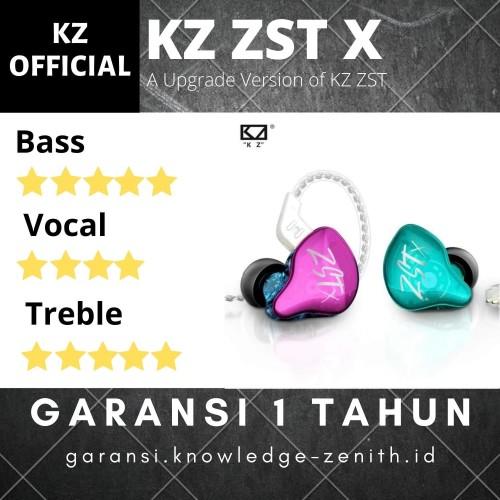 Foto Produk Knowledge Zenith KZ ZST X Dual Driver Earphone with MIC - Hijau dari Knowledge Zenith Store