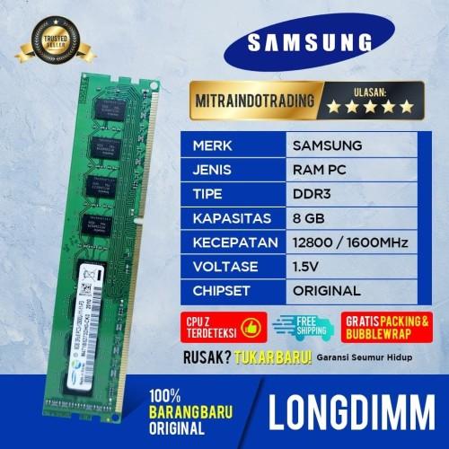 Foto Produk RAM PC SAMSUNG LONGDIMM DDR3 8GB PC 12800 / 1600 MHZ dari Mitraindotrading