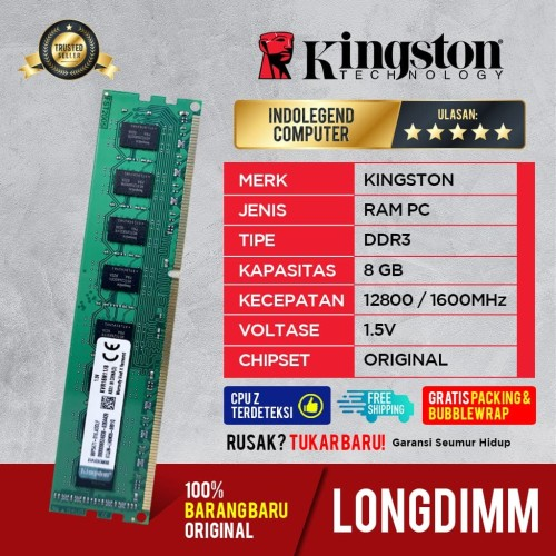 Foto Produk KINGSTON DDR3 8GB PC12800 LONGDIM dari INDOLEGEND COMPUTER