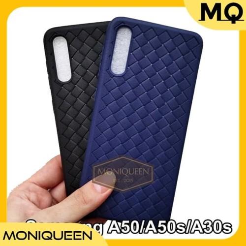 Foto Produk Case Samsung A50 A50s A30s WOVEN Leather texture Ultra Slim Soft Case - Navy dari MoniQueenShop