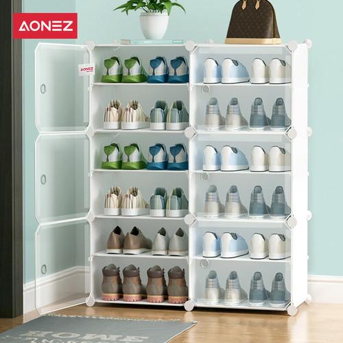 Foto Produk Aonez Rak sepatu 2 baris 6 slot rumah tempat sepatu - Putih, All Size dari AONEZ Official Store