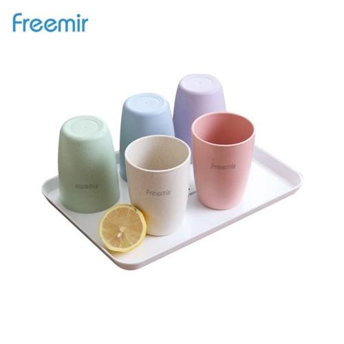 Foto Produk freemir gelas wheatstraw cangkir plastik cup warna warni Set 5 pcs dari freemir Official Store
