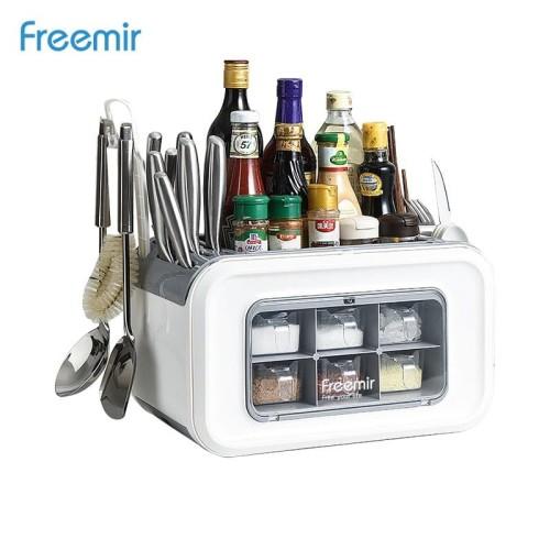 Foto Produk freemir Rak Bumbu Portable Serbaguna Organizer Dapur 2 Level Laci dari freemir Official Store