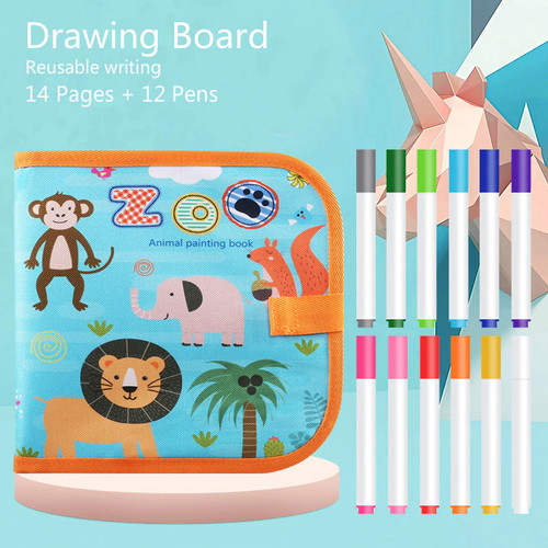 Foto Produk Portable Soft Chalk Board Drawing Book Magic Pen Painting - UNICORN - ZOO dari AngeloHut