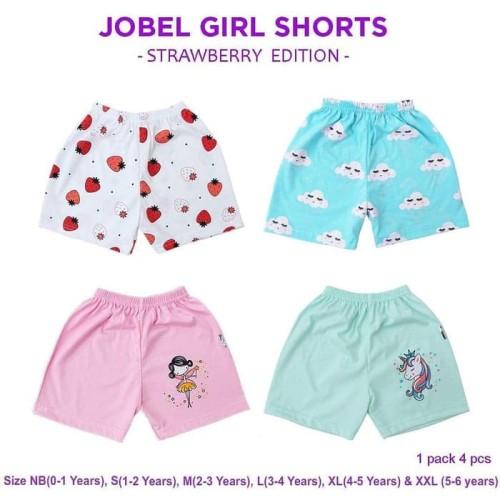 Foto Produk Kazel Jobel Girl Short Strawberry 1 Pack Isi 4 Pcs / Celana Pendek - NB dari Katakita Baby Shop