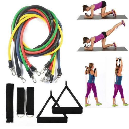 Foto Produk resistance band set 11 in 1 fitness gym stretching pilates yoga dari Pusat Grosir OLAHRAGA