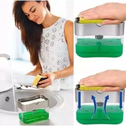 Foto Produk dispenser sabun cuci piring spons pump dispenser holder sponge 2 in 1 dari ong star acc