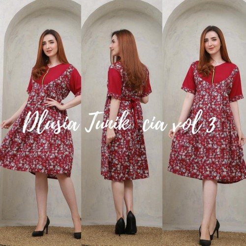 Foto Produk daster arab/india/dubai/turki dlusia tunik cia dress busui midi - Merah dari murmershops & fashion
