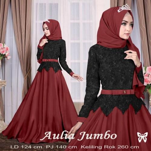 Foto Produk Sis - Aulia Jumbo Black Maroon maxi Dress pesta gamis wanita Terbaru dari Risna shop