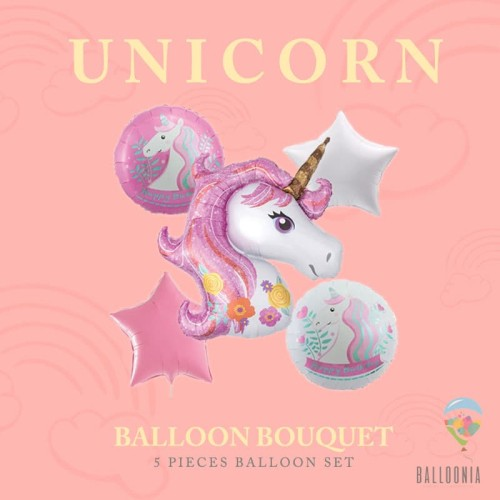 Foto Produk Set Bouquet Balon Mini Tema Unicorn / Dekorasi Ulang Tahun Unicorn - Ungu dari Balloonia