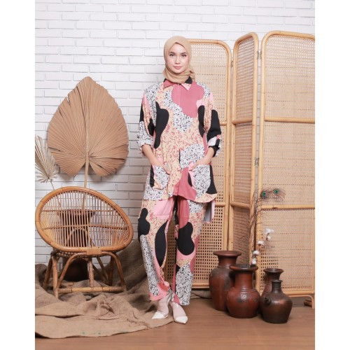 Foto Produk Piyama Wanita Dewasa Lengan Panjang Katun Rayon Motif Callista Fit XL dari A M S