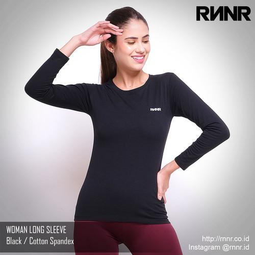 Foto Produk Baju Olahraga Wanita Gym Senam Lari Lengan Panjang Katun Spandex - Hitam, L dari rnnr
