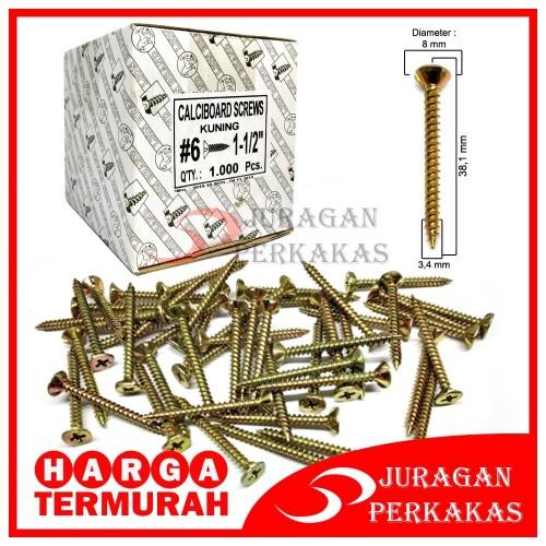 Foto Produk MOON LION GRC 6 x 1-1/2 SEKRUP KALSIBOARD BAUT SKRUP 1 PAK 1.000 PCS dari Juragan Perkakas