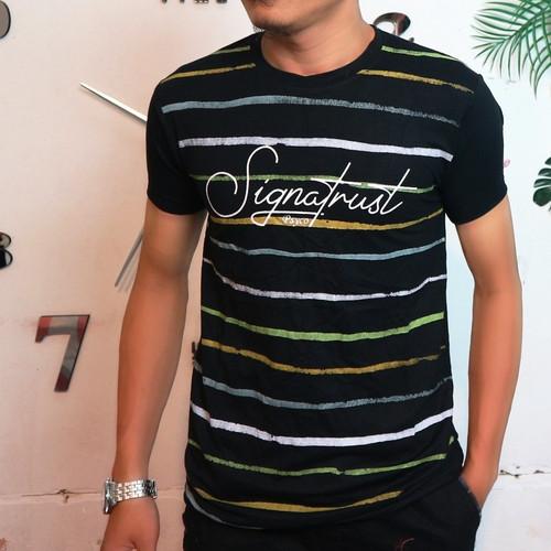 Foto Produk baju kaos tshirt distro pria atasan salur stripe belang keren murah - Hitam, L dari Man Store Gallery