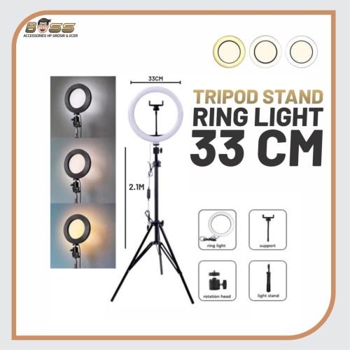 Foto Produk RING LIGHT 33CM + LIGHT STAND TRIPOD 2M SELFIE VLOGGER LIVESTREAMER - Lampu 33cm saja dari Boss Muda88