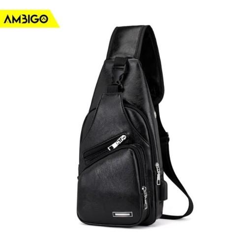 Foto Produk Tas Slempang Ambigo Sling Bag USB Pria Wanita Selempang Anti Air - Hitam dari Jagonya Case