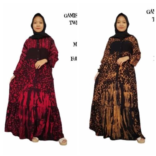 Foto Produk Gamis Batik Rayon Candimekar Rayon model P ~Mustama Batik - gold, L dari Mustama Batik