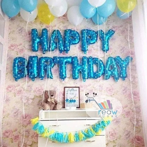 Foto Produk Paket Dekorasi Hiasan Balon Ulang Tahun / Happy Birthday Biru 04 dari Reaw Store