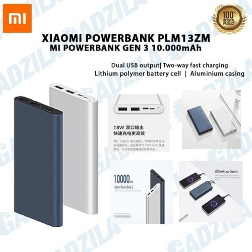 Foto Produk Powerbank Xiaomi Mi Pro 2i 10000mAh 2 USB FAST CHARGING PB Mi2i Mi 2i - Biru dari GADZILA STORE