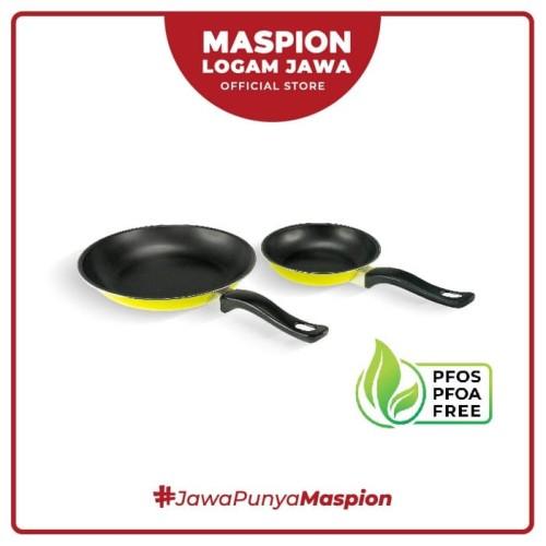 Foto Produk Maspion Frypan Set 18 Cm + 23 Cm 2 Pcs Kuning - Frypan Antilengket dari Maspion Logam Jawa