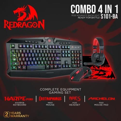 Foto Produk Redragon S101-BA-1 Gaming Keyboard Mouse Pad Headset 4 in 1 Combo dari manekistore