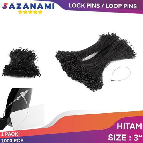 Foto Produk 1000 PCS LOCK PINS LOOP PINS TALI HANG TAG TALI BAJU - Hitam, 3 INCH dari Sazanami Tape