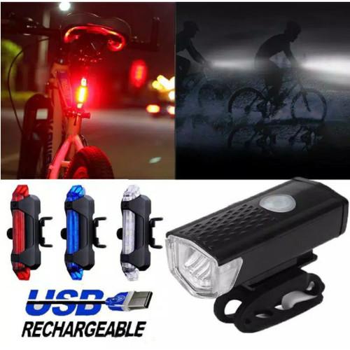 Foto Produk Lampu Sepeda Depan Belakang / LED Sepeda Terang USB Waterproof Murah - Merah Belakang dari Acc Perhiasan