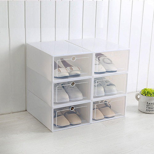 Foto Produk Kotak Sepatu Transparan Slide Model Laci / Cover Shoes Case with Frame - Putih dari PROHEMAT