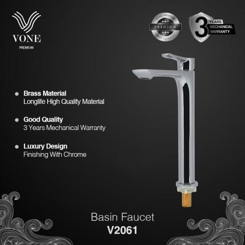 Foto Produk VONE PREMIUM V2061 Keran Air Wastafel Panjang Basin Desk Brass Chrome dari Vone Sanitary Indonesia