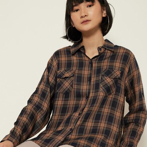 Foto Produk Cammomile 2008018 SF1113 Atasan wanita kemeja lengan panjang - Brown, Free Size dari Cammomile FashionLine