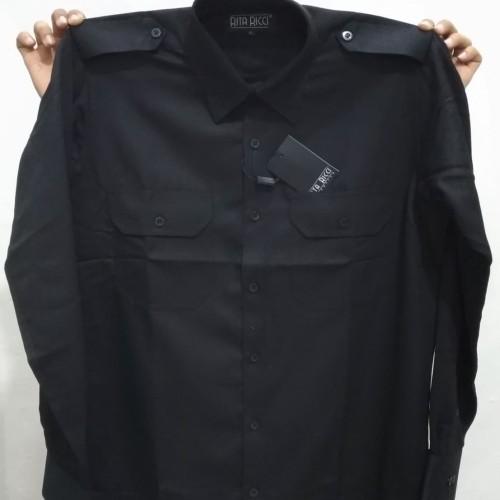 Foto Produk Kemeja Pilot Hitam Rita Ricci Pria Panjang Reguler Safari Oxford Hitam - Hitam, S dari Mega Hero Shirts