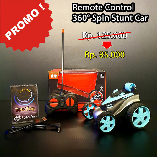 Foto Produk 360 DEGREE SPINS STUNT CAR MOBIL REMOTE CONTROL RC USB CHARGING - Biru Muda dari TIRTA TOYS 168