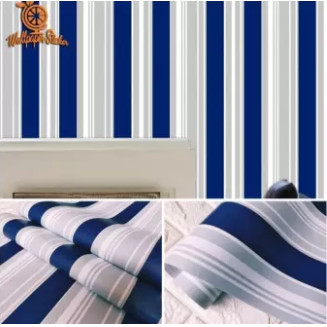 Foto Produk Home Wallpaper Dinding Motif Garis Salur Navy - Anti Air - 45cm x10m dari homewallpaperr