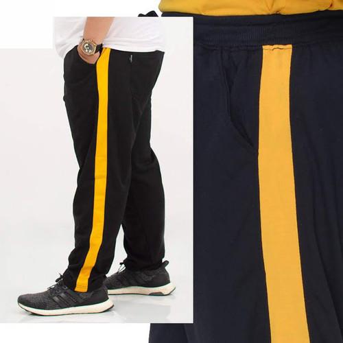 Foto Produk JCFashion Celana Jogger Big Size Unisex Training Side List Olahraga - Hitam Kuning dari JC-Fashion