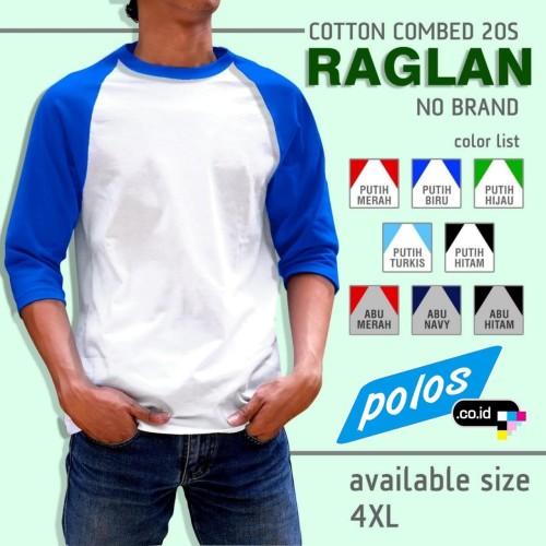 Foto Produk Kaos Raglan Polos Super Cotton 20s Ukuran XXXXL (4XL) JUMBO BIG SIZE - Putih-Hijau, 4XL dari polos.co.id