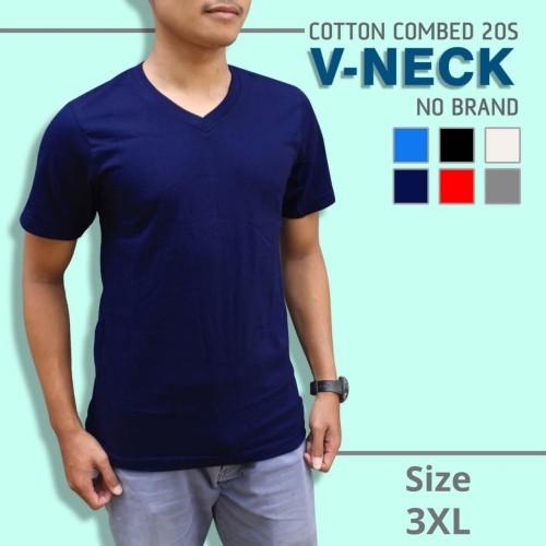 Foto Produk Kaos Polos V-Neck Super Cotton 20s Unisex Ukuran JUMBO XXXL [3XL] - Merah dari polos.co.id