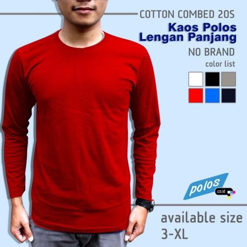 Foto Produk Kaos Polos Lengan Panjang Super Cotton 20s Unisex Ukuran [3~XL] dari polos.co.id