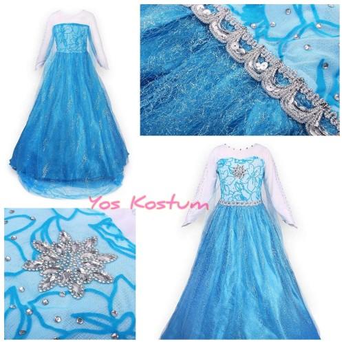 Foto Produk Kostum Anak Frozen Elsa Princess Dress Gaun Baju Pesta Ultah Import - 110 dari Yos Kostum