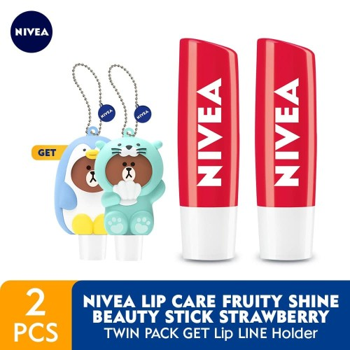 Foto Produk NIVEA Lip Care Fruity Shine Beauty Stick Strawberry 4.8gr - Twin Pack dari NIVEA Official
