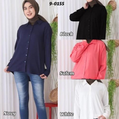 Foto Produk Baju Atasan Wanita Bahan Rayon Lembut Blus Kemeja 9-0155 - Navy, Standar dari Hitjab & Co