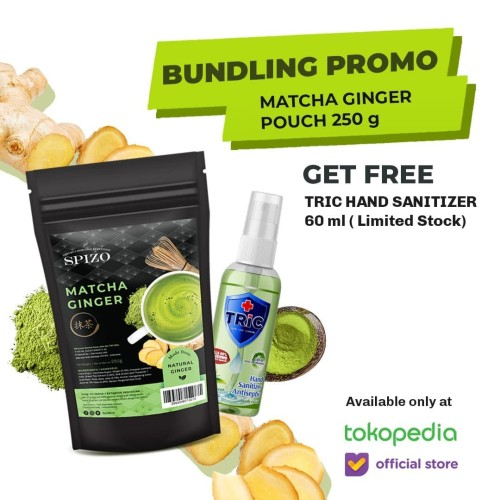 Foto Produk Matcha Ginger (Jahe) Pouch + Free Tric Green Tea Hand Sanitizers dari SPIZO