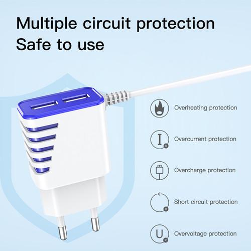 Foto Produk Kepala Charger BASIKE Mini Dual Usb Charger EU Plug Quick Charging - AE51Y-09V Putih dari Basike Official Store