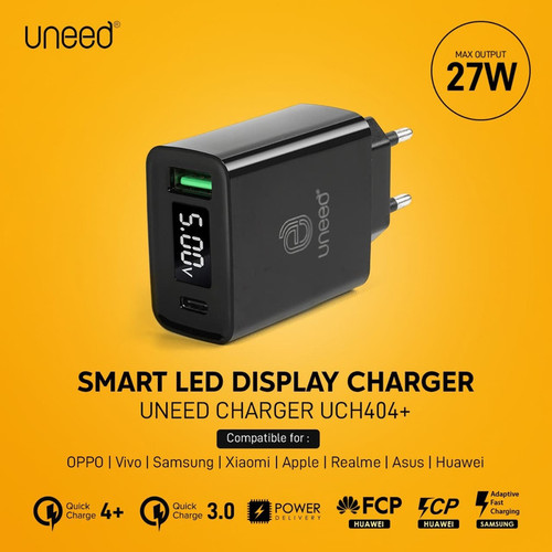Foto Produk UNEED QuickPlug Smart Charger QC 4.0 & PD with LED Display - UCH404+ - Hitam dari Uneed Indonesia