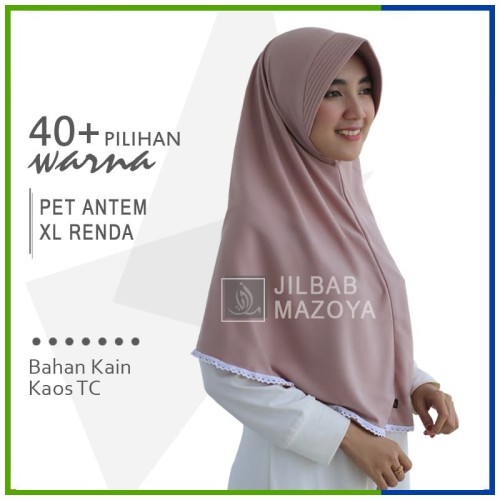 Foto Produk Jilbab Instan Pet Antem Renda XL / Hijab Kaos Bergo Pet Renda Size XL dari Jilbab Mazoya