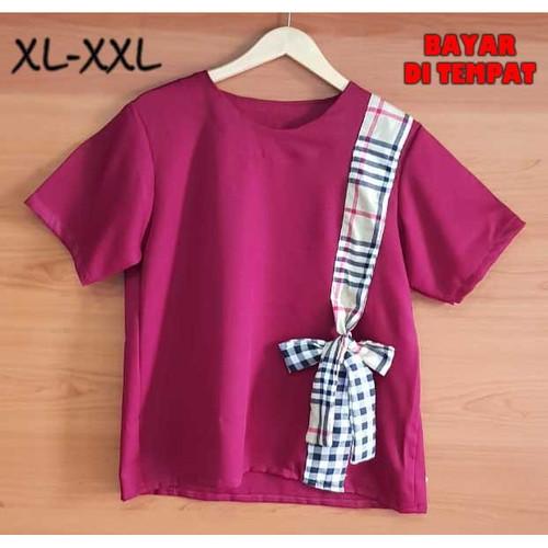 Foto Produk BinxFashion-Blouse-Jumbo/Atasan-Wanita-Jumbo-03A - Merah, XL dari Binxfashion