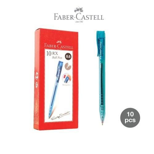 Foto Produk Ballpoint Faber-Castell RX 0.5mm Tinta Hitam, Barrel Cyan-1 Box 10 pcs dari Faber-Castell