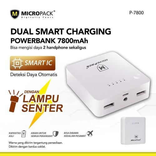 Foto Produk Micropack Power Bank 7800mAh Dual Smart Charging (P7800) dari Micropack Official Store