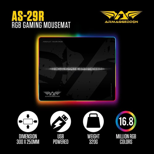 Foto Produk Armaggeddon Assault AS29 RGB Gaming Mouse Pad - Dimensi : 250x300mm dari Armaggeddon Official