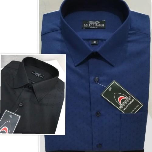 Foto Produk Kemeja Pria SALICE PAOLO Pendek Reguler Dobby Wajik Hitam Navy - Hitam, M dari Mega Hero Shirts